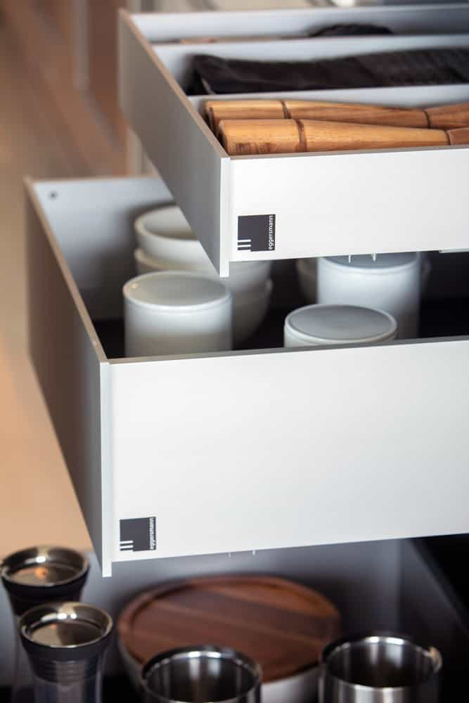 custom drawers closeup in corona del mar home's luxury modern kitchen