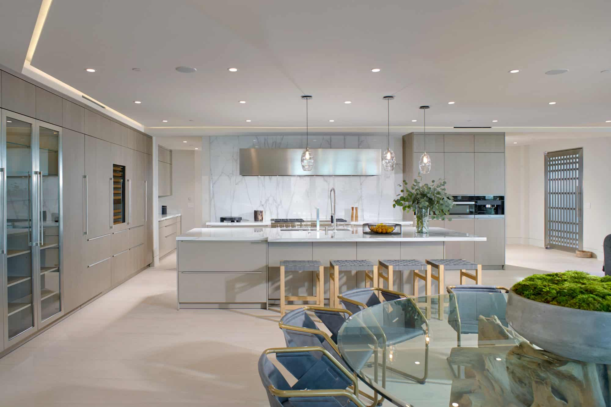 corona del mar home's luxury contemporary eat-in kitchen
