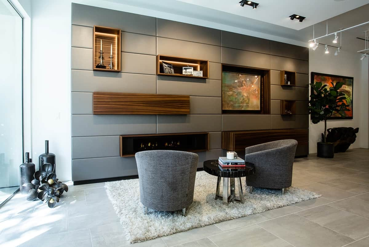 hidden bar flipped up to hideaway in a modern modular wall