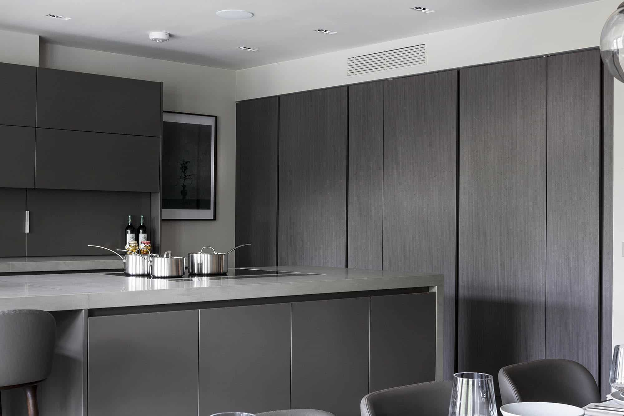 concealed integrated appliances in a luxury modern kitchen