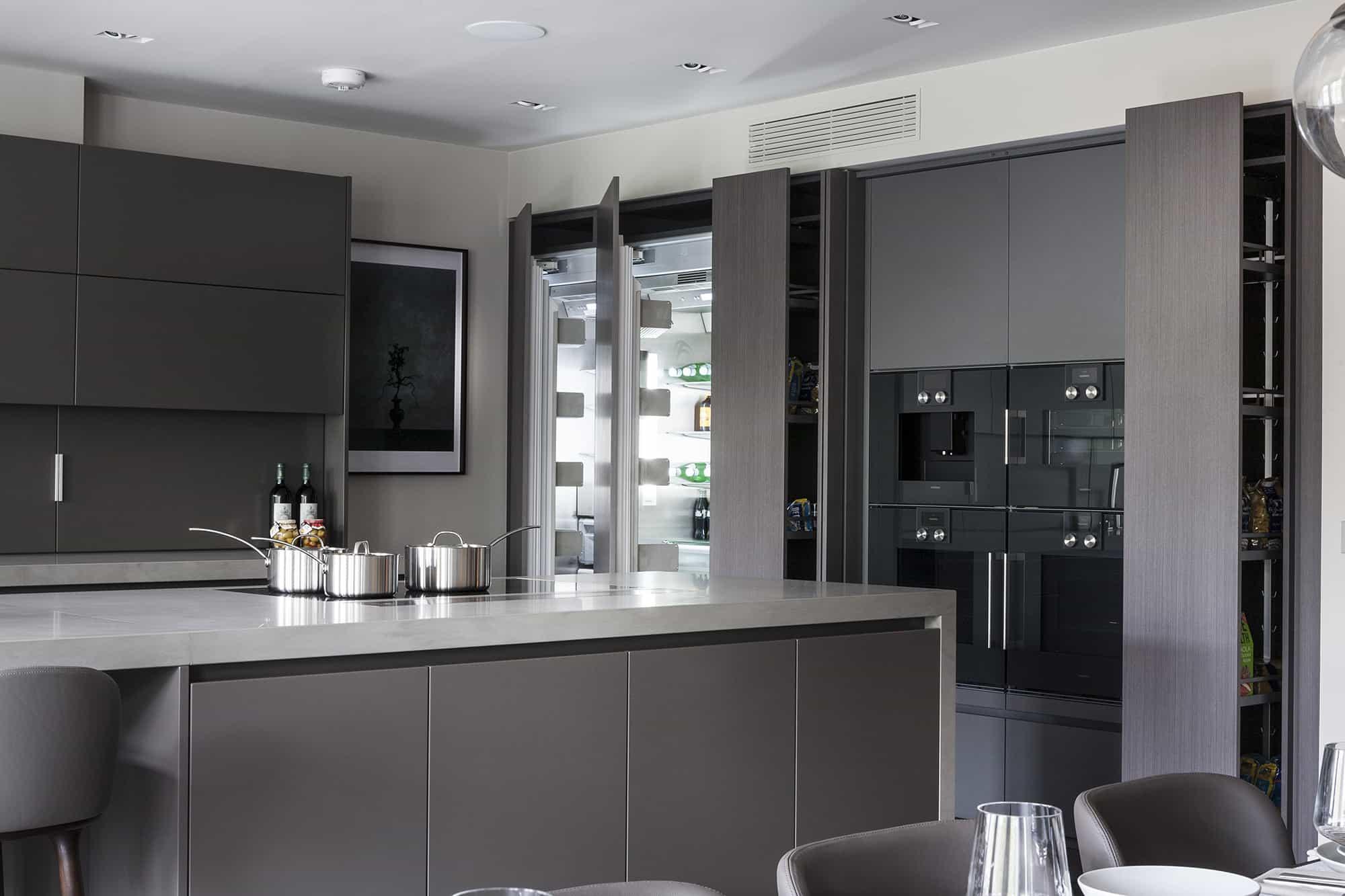 open integrated appliances in a luxury modern kitchen