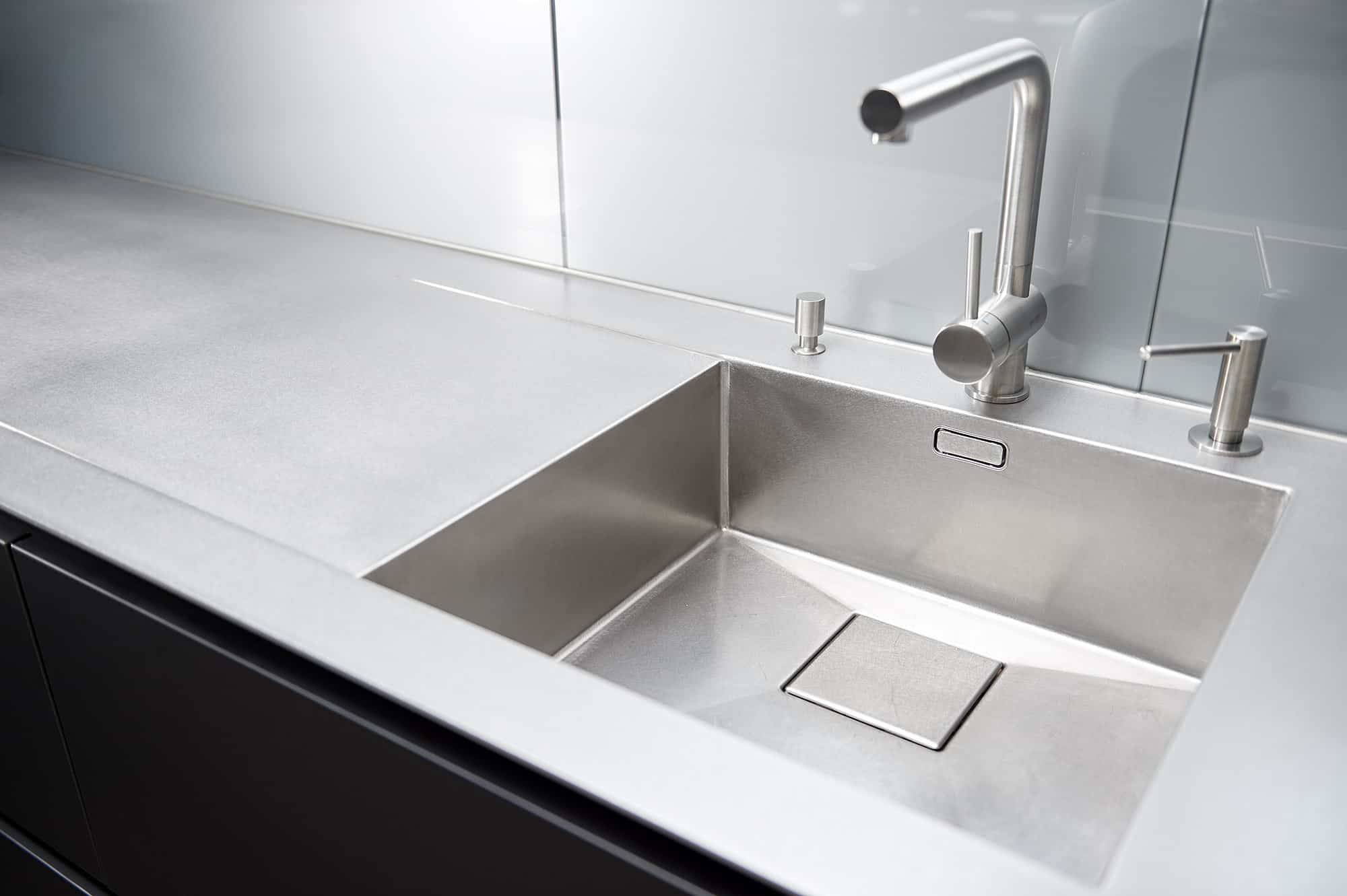 Hot Rolled stainless steel worktop with integrated sink