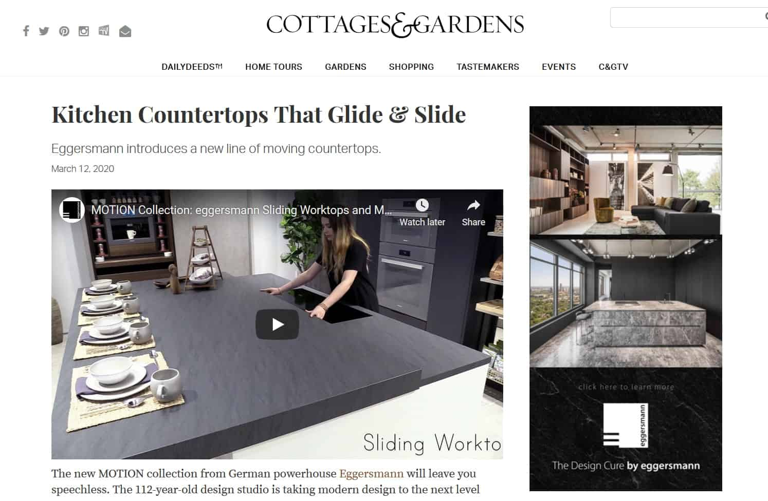 eggersmann Moving Countertops Featured in Cottages & Gardens
