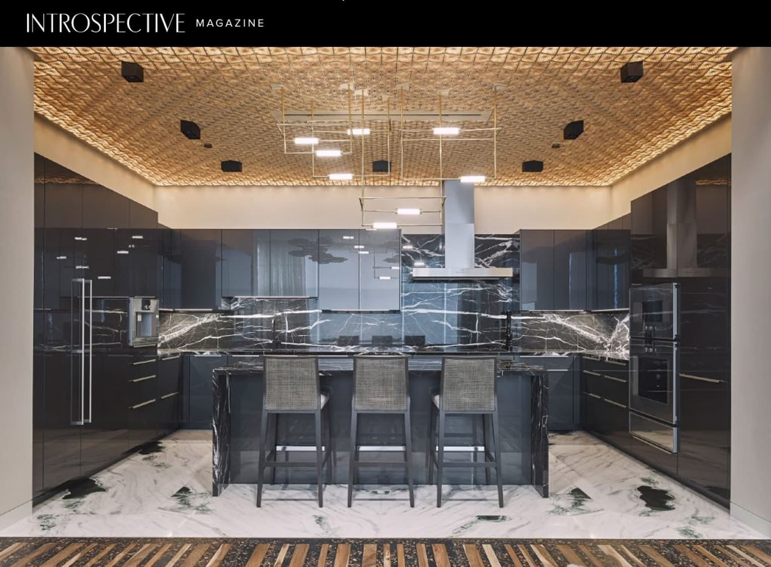 eggersmann all-black kitchen in penthouse of houston's arabella luxury high-rise
