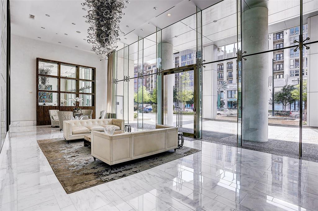 lobby of 2727 kirby luxury high rise in houston