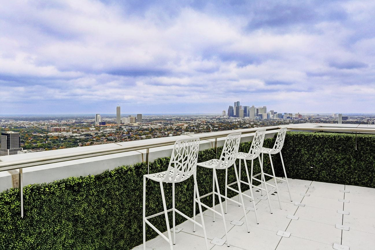 balcony of the east penthouse in the 2727 kirby luxury high rise condos overlooking downtown houston