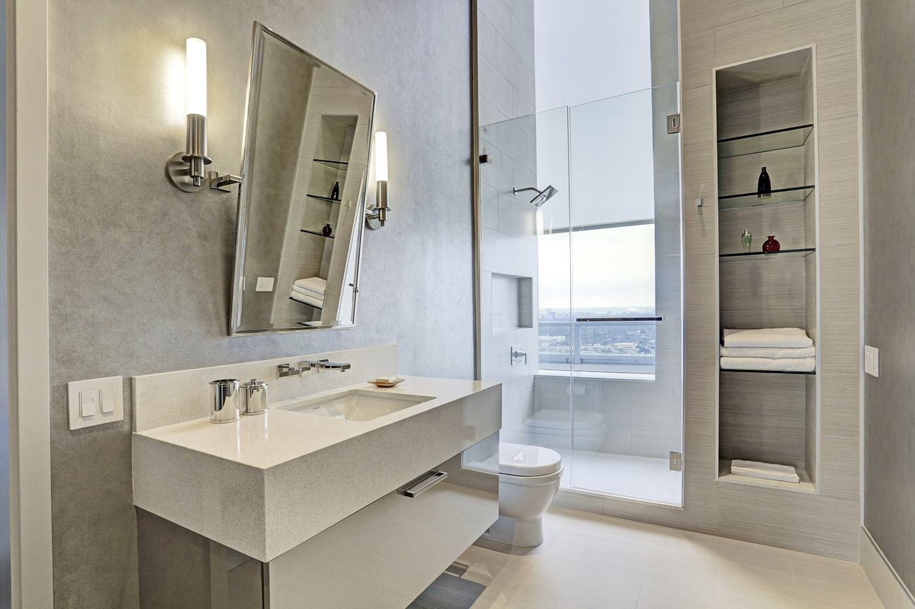master bath vanity of the east penthouse in the 2727 kirby luxury high rise condos in houston