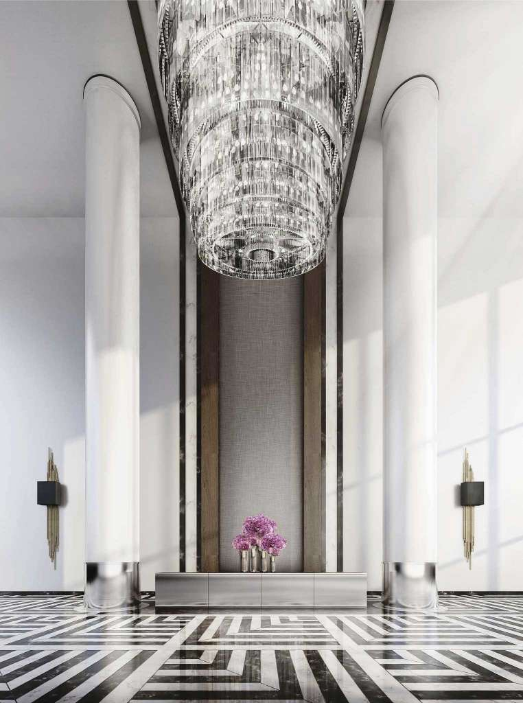 houston's arabella high rise condos lobby chandelier and front desk