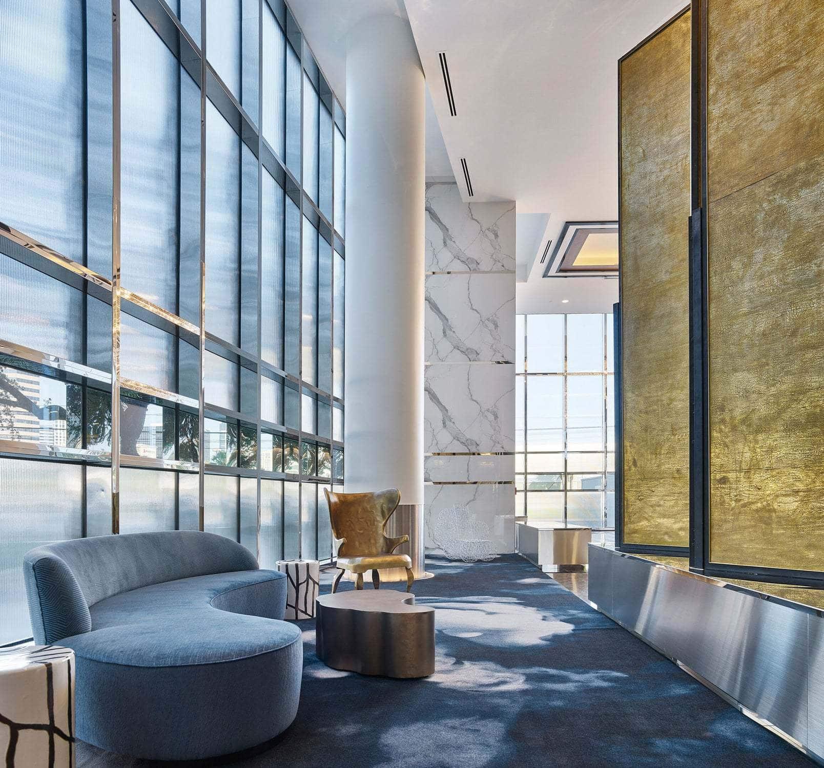 houston's arabella high rise condos lobby waiting area