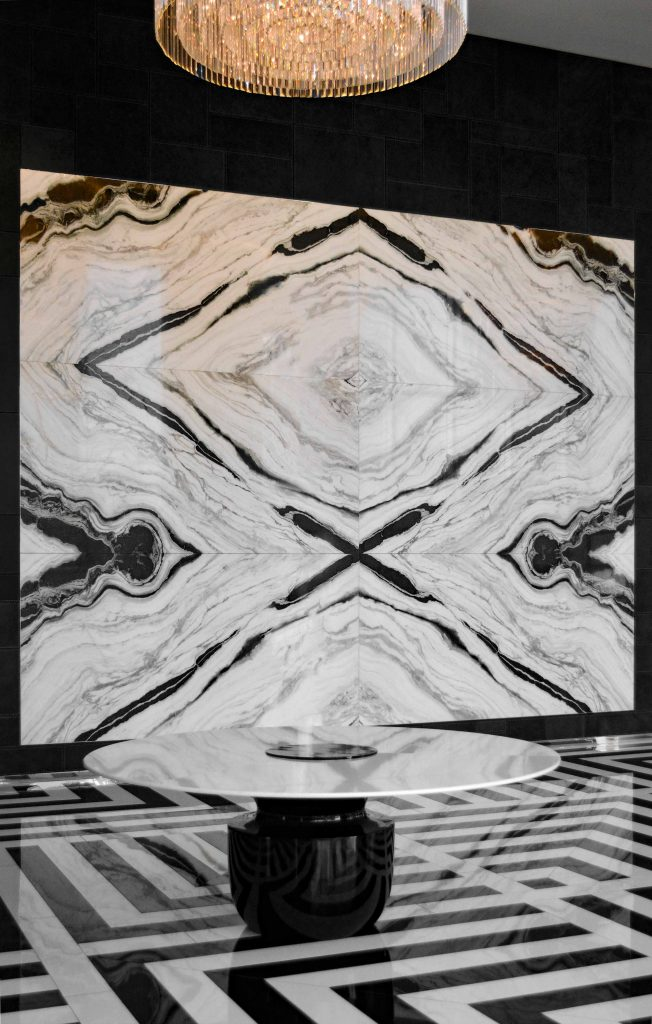 houston's arabella high rise condos lobby book-matched marble wall