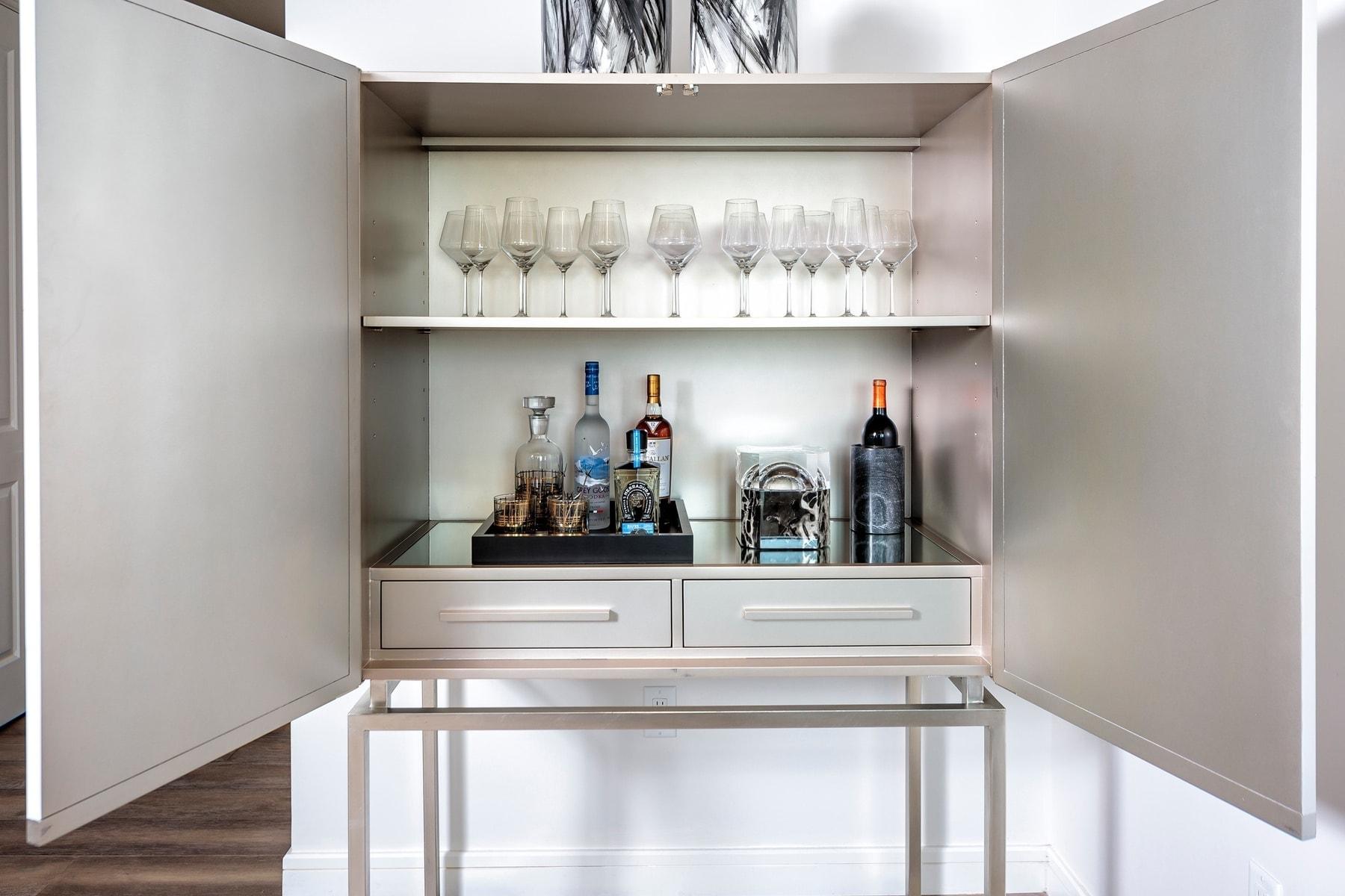 custom bar cabinet the model unit of arabella luxury condos in houston