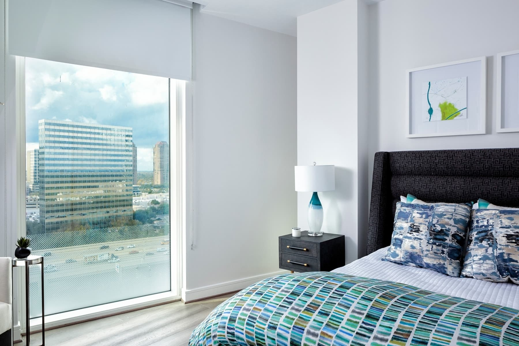 guest bedroom of the model unit of arabella luxury condos in houston