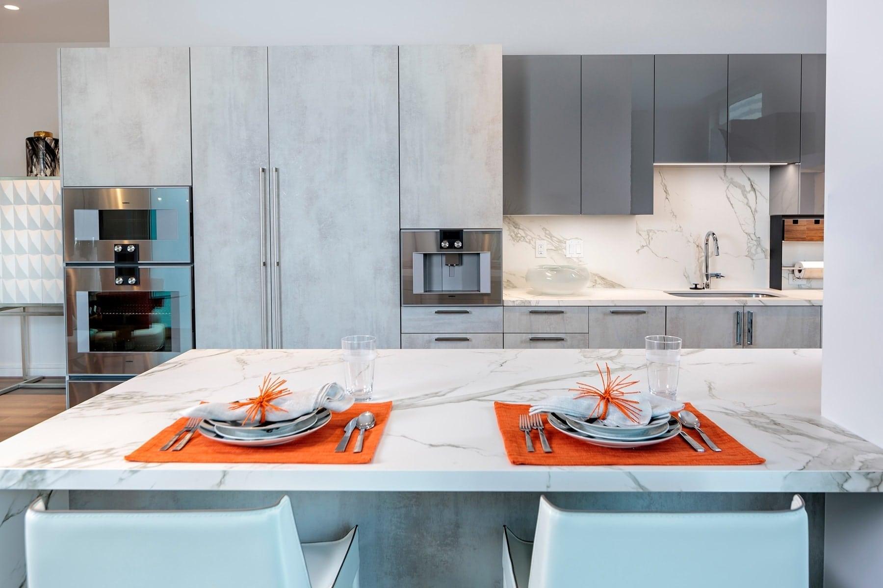 eat in kitchen by eggersmann in the model unit of arabella luxury condos in houston