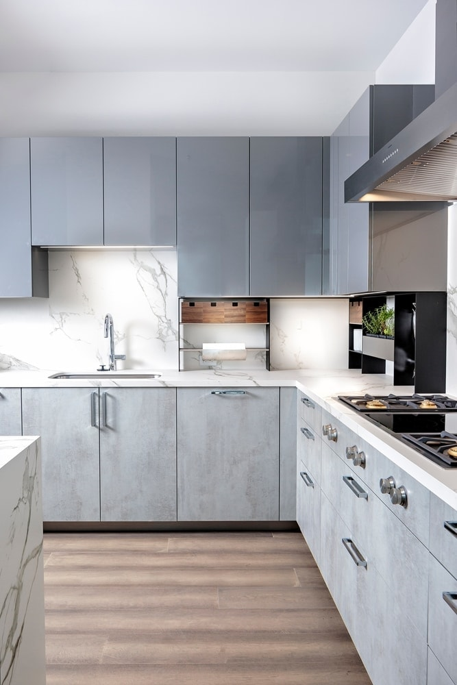 eggersmann kitchen with high-end appliances in the model unit of arabella luxury condos in houston