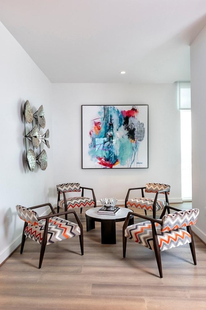 lounge area of the model unit of arabella luxury condos in houston