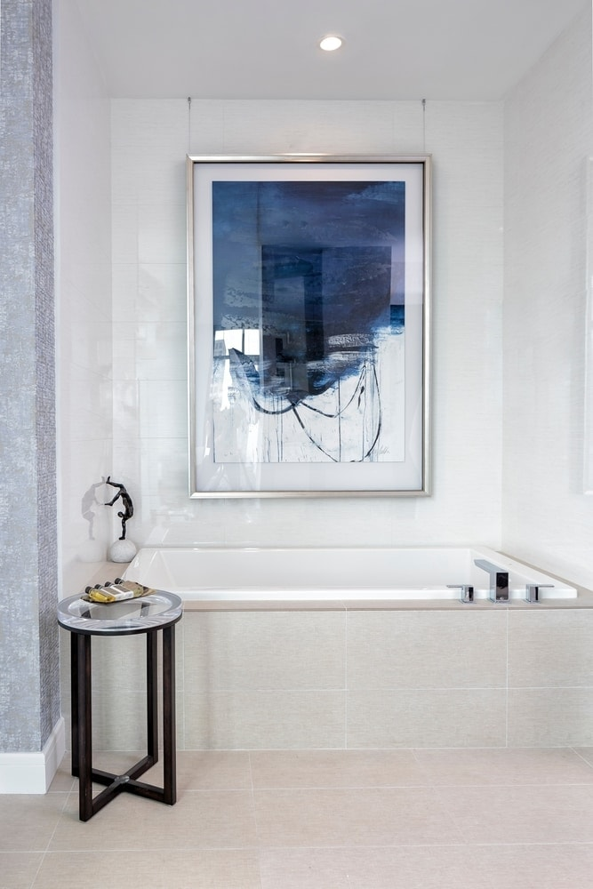 garden tub in the master bath of the the model unit of arabella luxury condos in houston