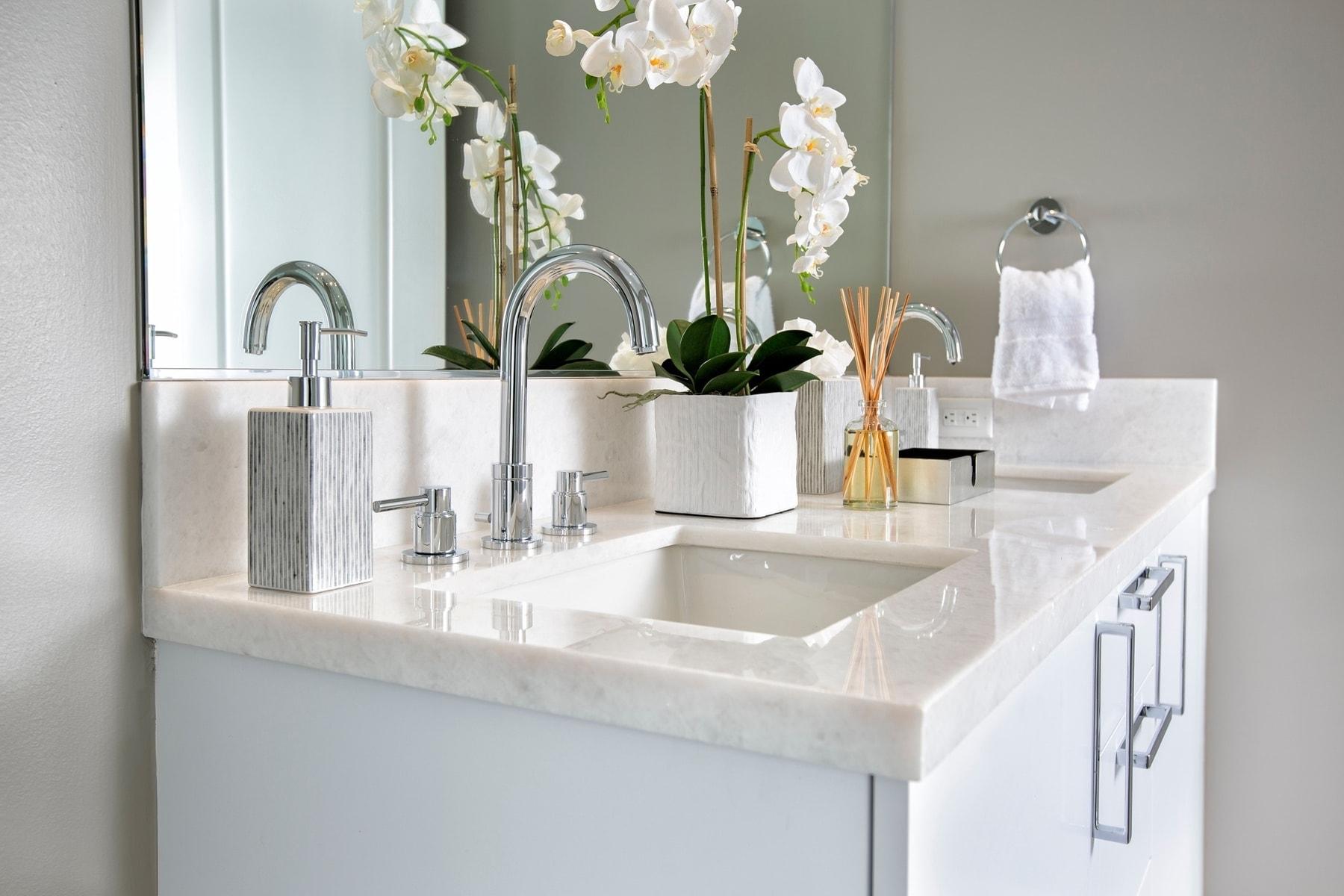 guest bath vanity in the model unit of arabella luxury condos in houston