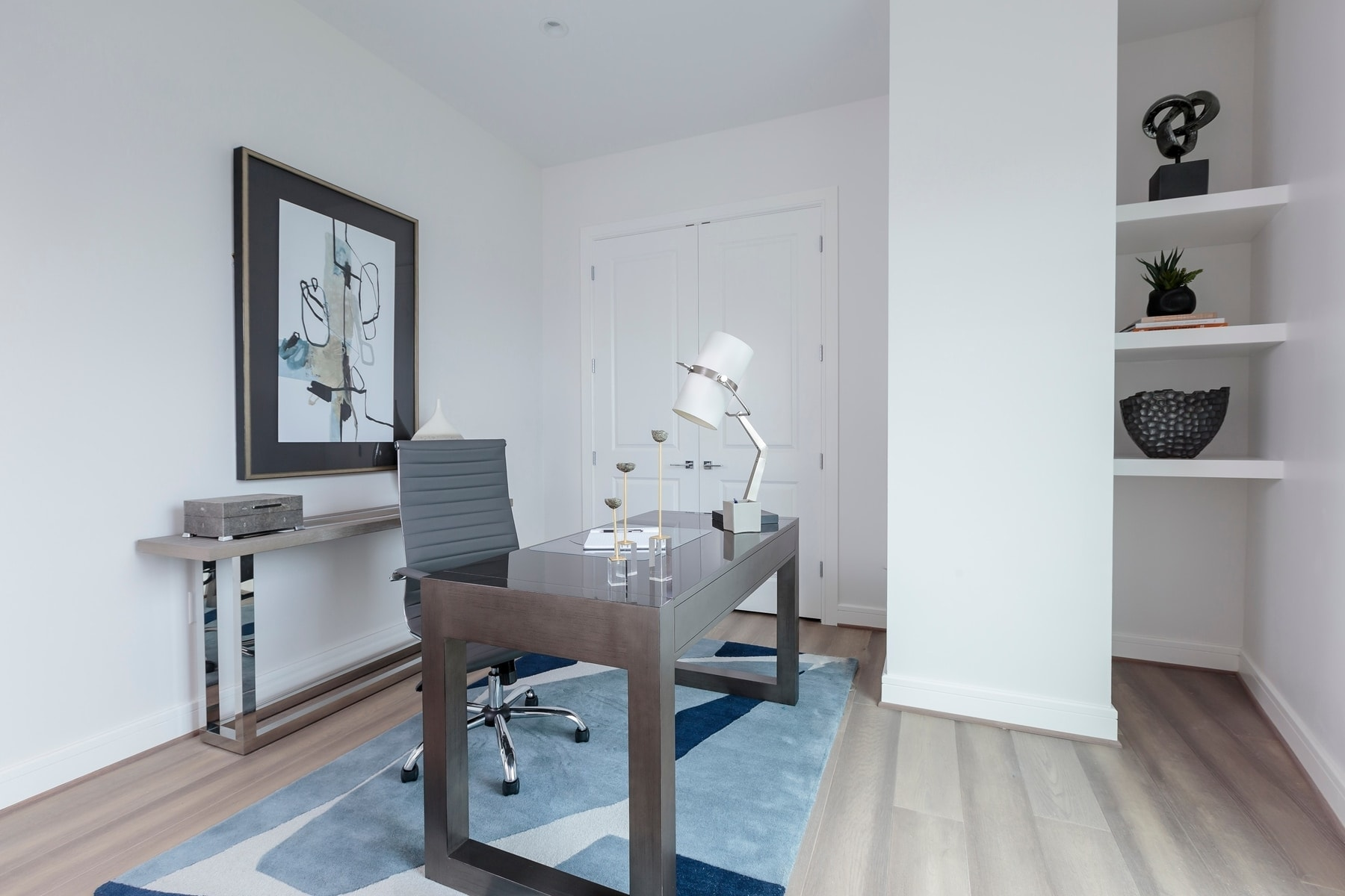 home office in the model unit of arabella luxury condos in houston