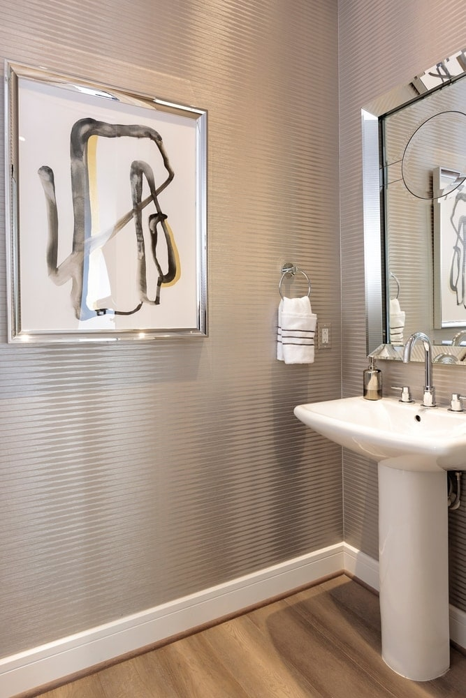 powder room of the model unit of arabella luxury high rise apartments in houston