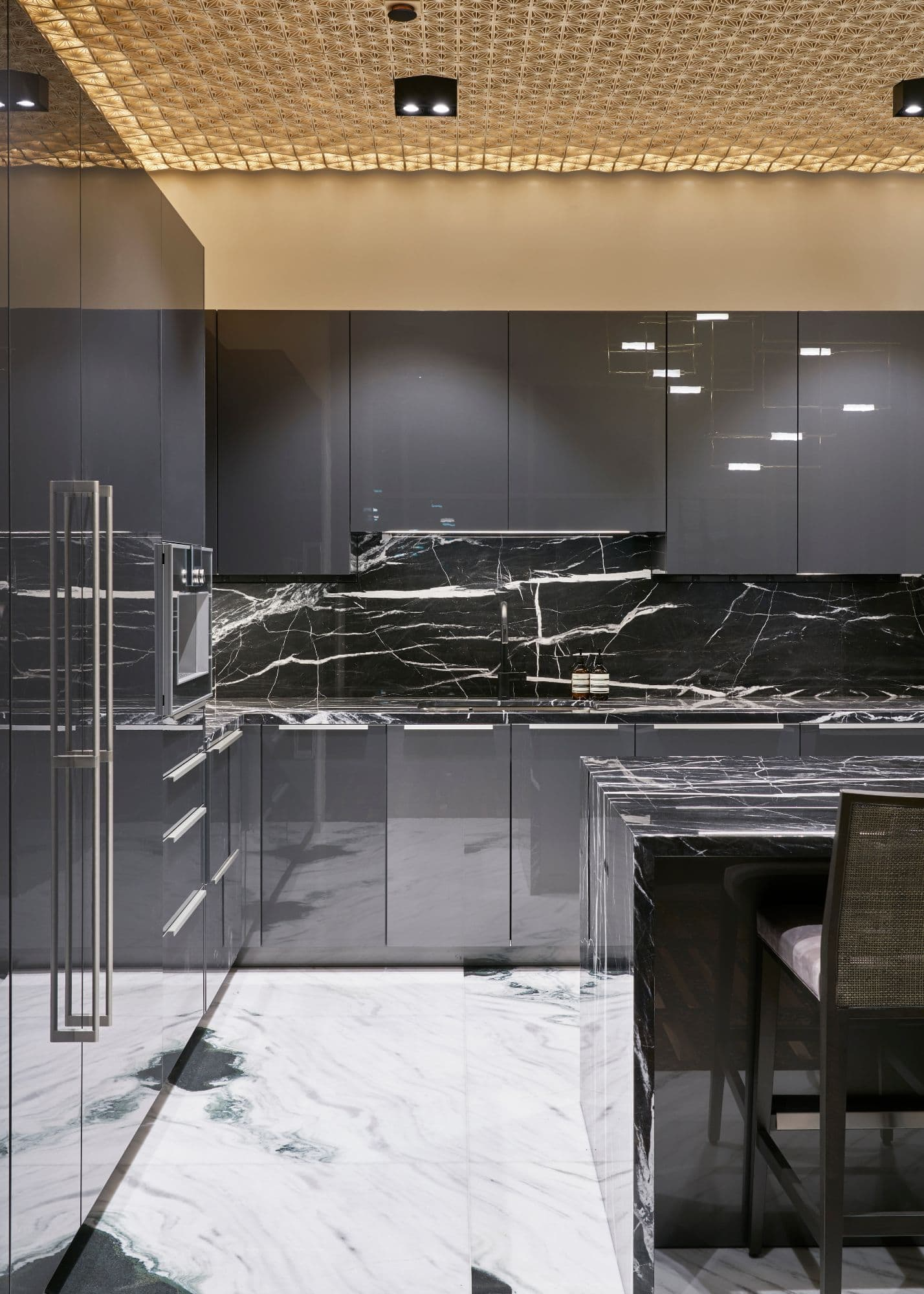 left side of eggersmann kitchen inside a penthouse of the arabella luxury high rise in houston