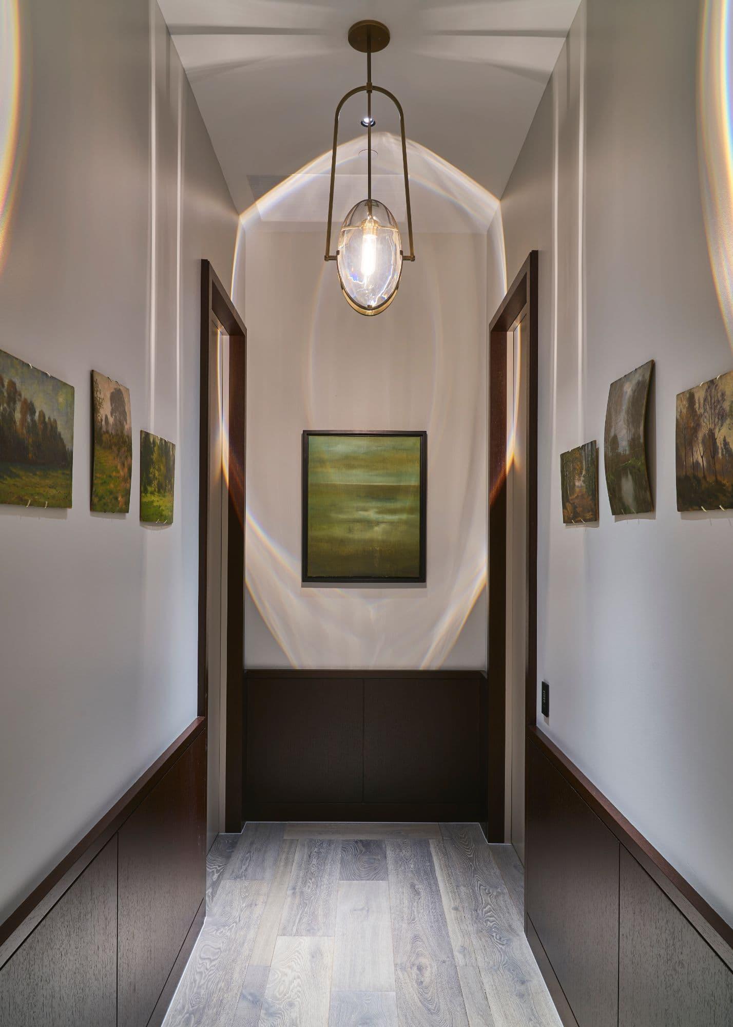 artful hallway inside a penthouse of the arabella luxury high rise in houston