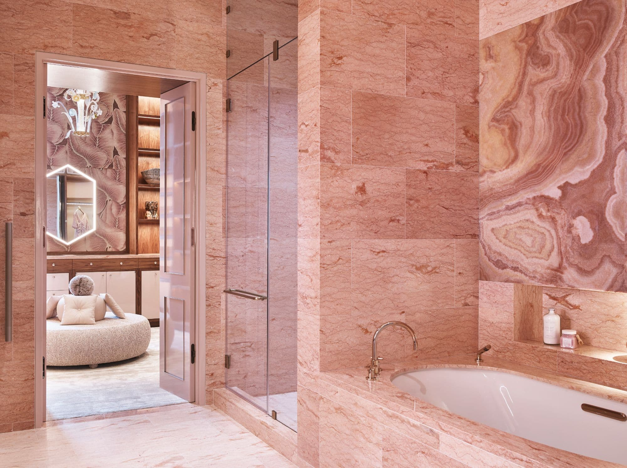 """""""her"""" pink marble master bath inside a penthouse of the arabella luxury high rise in houston"""