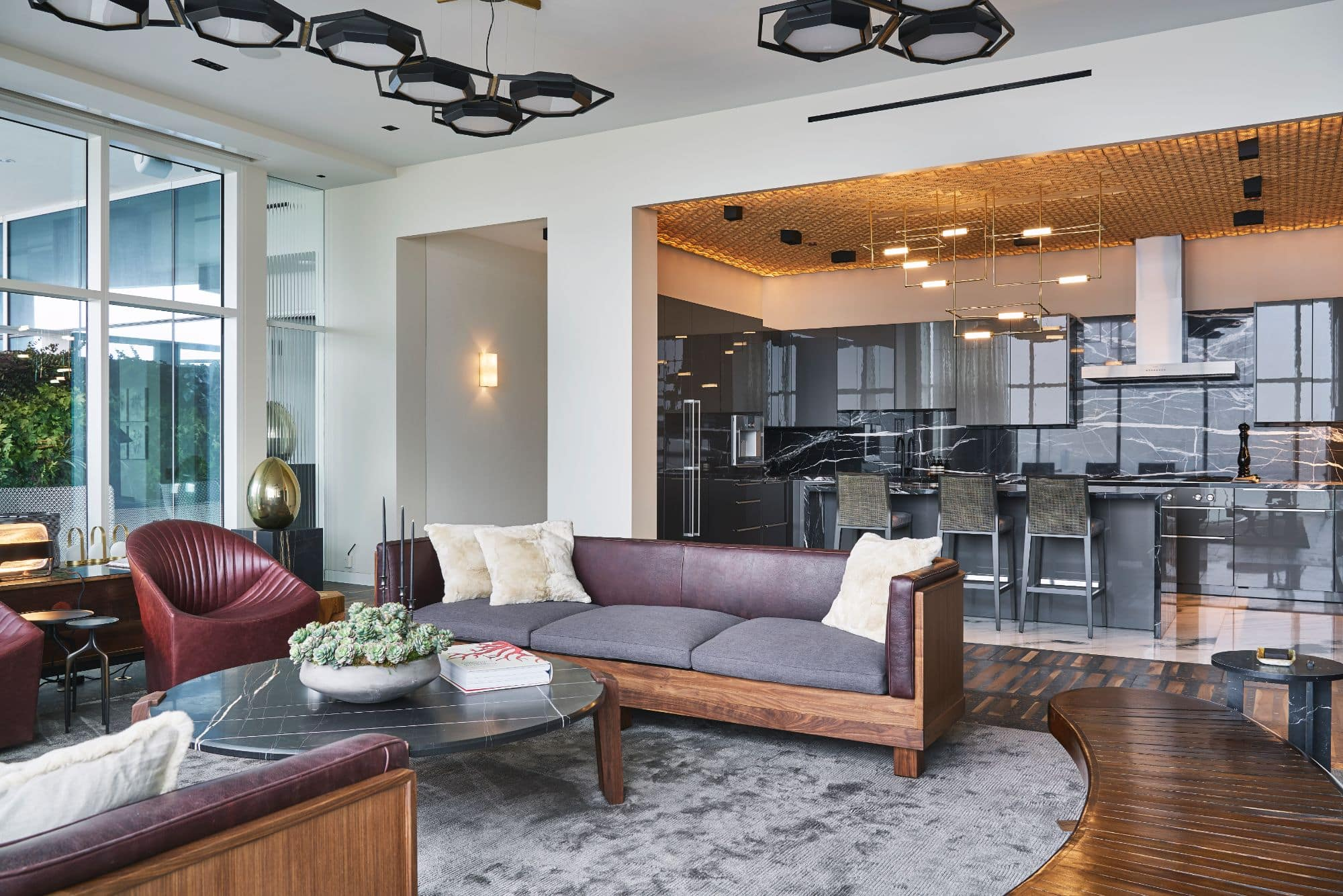 living area and eggersmann kitchen inside a penthouse of the arabella luxury high rise in houston