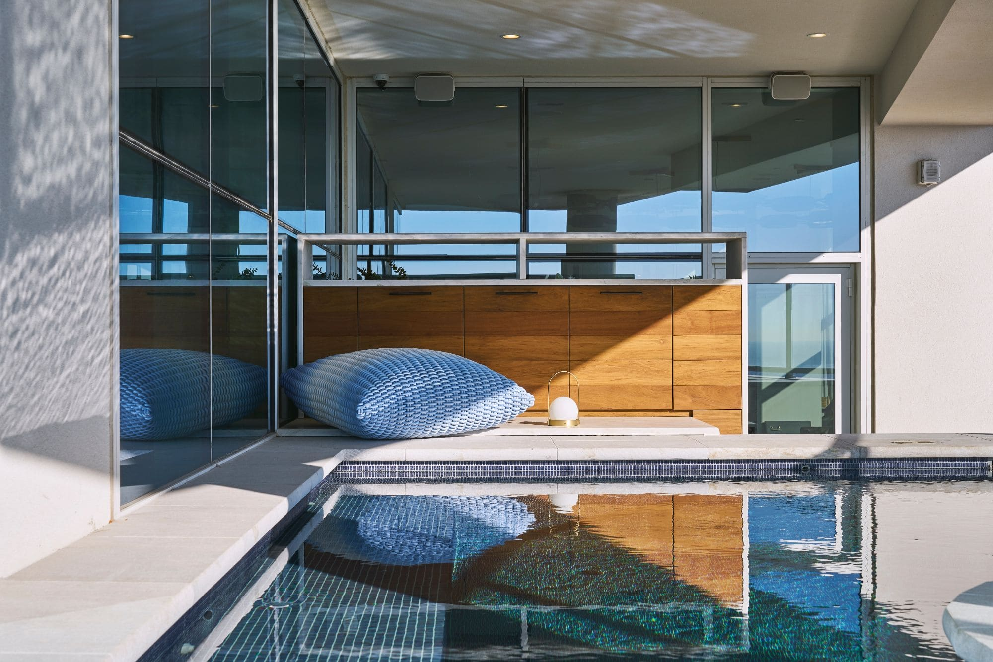 private pool overlooking houston's skyline outside a penthouse of the arabella luxury high rise in houston