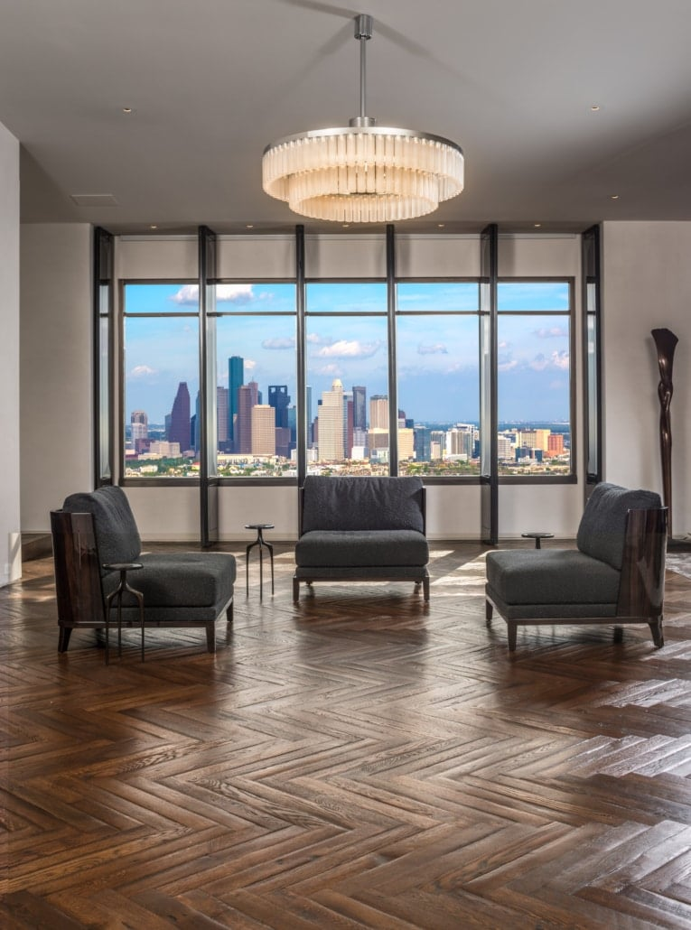 luxury living area of a full floor renovation of the huntingdon higrise on kirby in houston