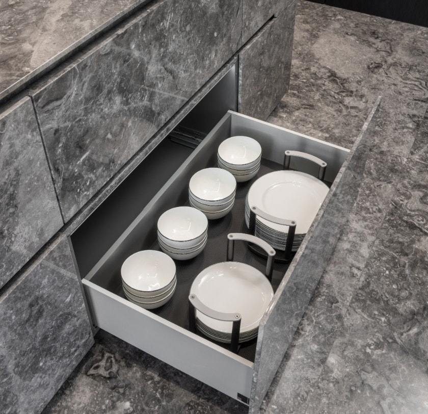 eggersmann dinnerware organizer in german cabinetry in huntingdon luxury high-rise on kirby in houston