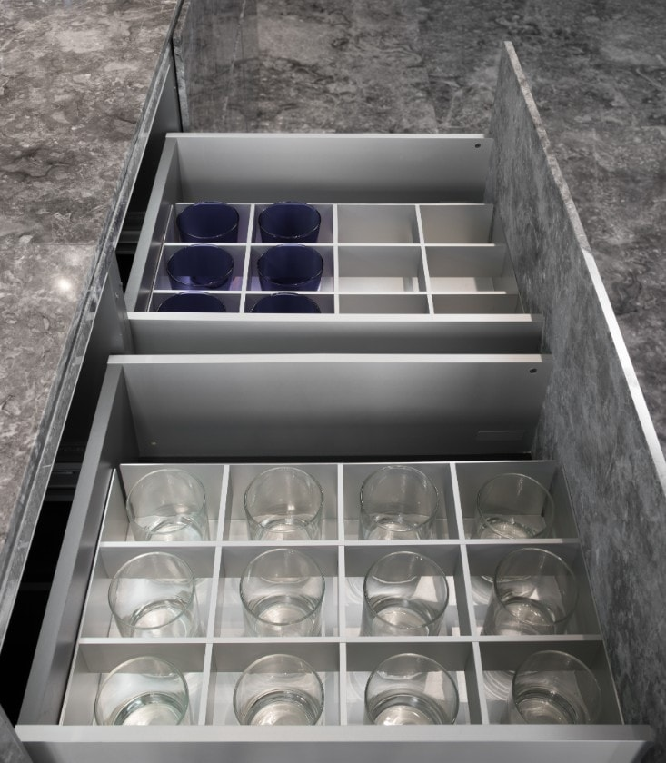 eggersmann glassrware organizer in german cabinetry in huntingdon luxury high-rise on kirby in houston