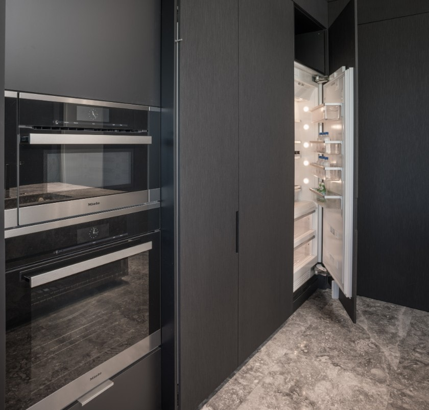 integrated refrigeration and appliances in huntingdon luxury high-rise on kirby in houston