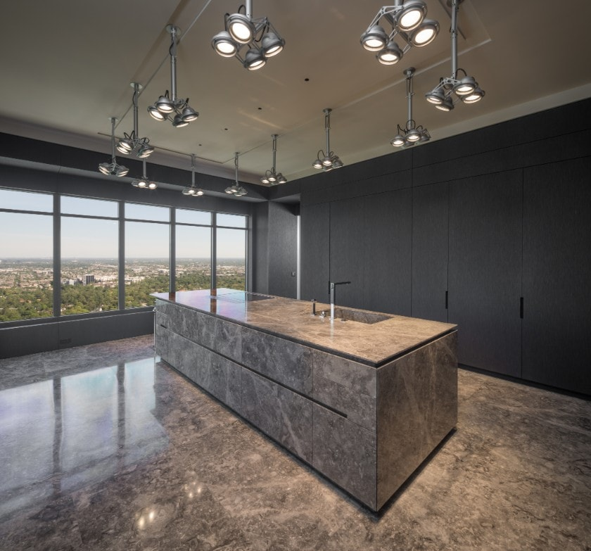 high-end kitchen in huntingdon luxury high-rise on kirby in houston