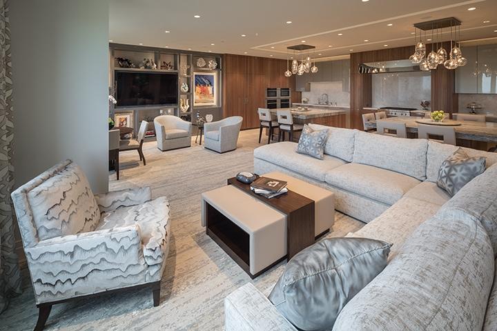 custom-designed belfiore great room with eggersmann kitchen