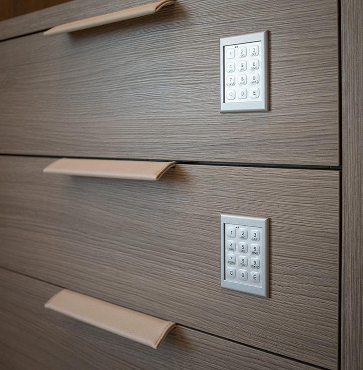 custom jewelry drawer safes in a Schmalenbach closet