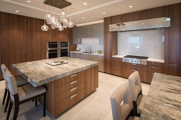 double stone-island kitchen in an eggersmann kitchen in belfiore condos in houston
