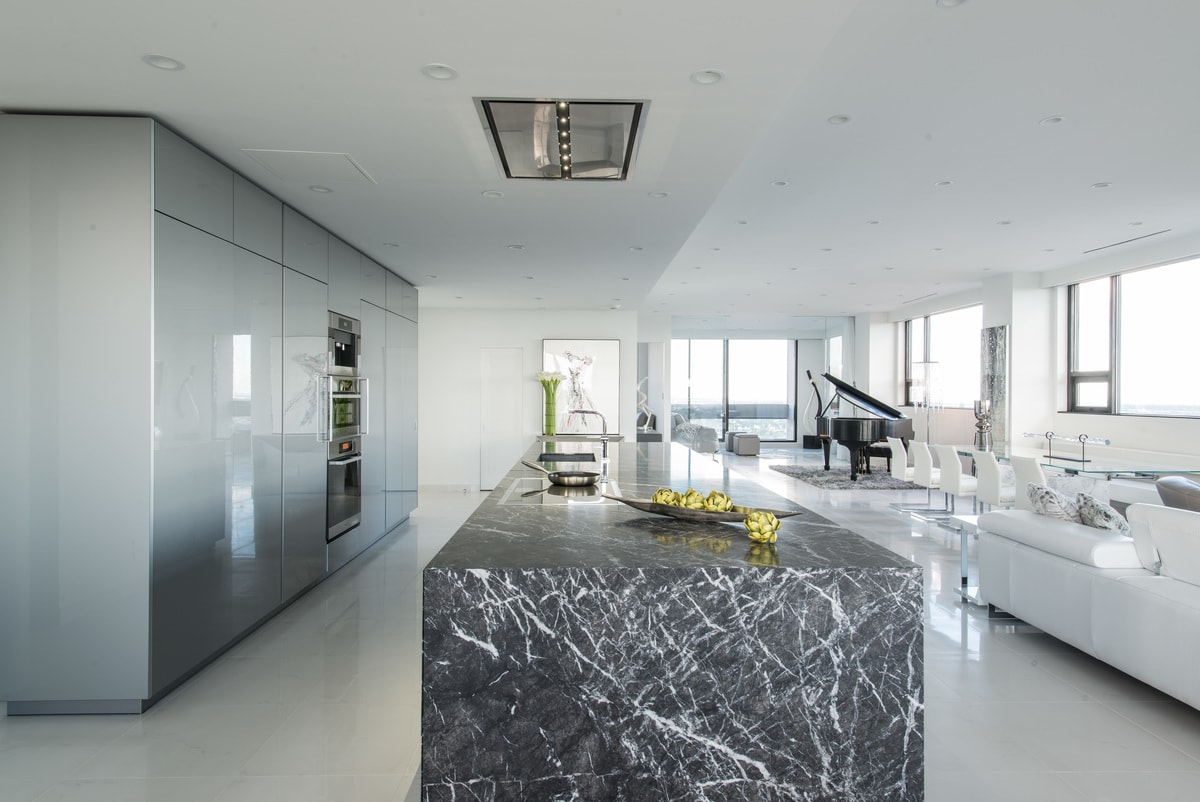 elegant Brutalist designed great room