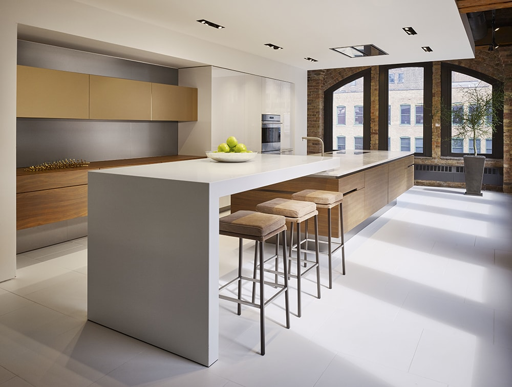 Walnut Satin | High Gloss White | Bronze Glass | Corian bar top