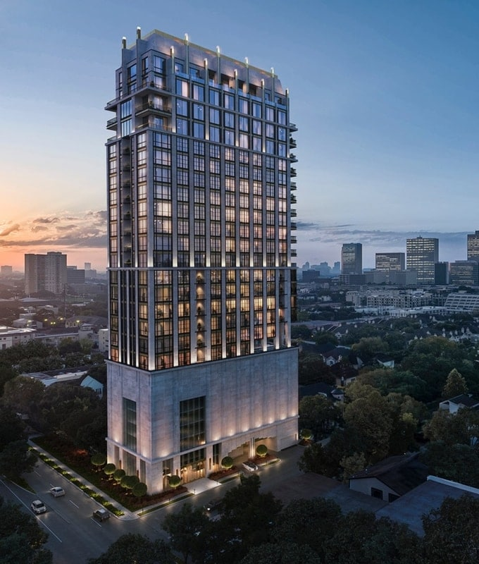 rendering of The Paramount luxury high rise building to be constructed in Houston near River Oaks and Galleria in 2021