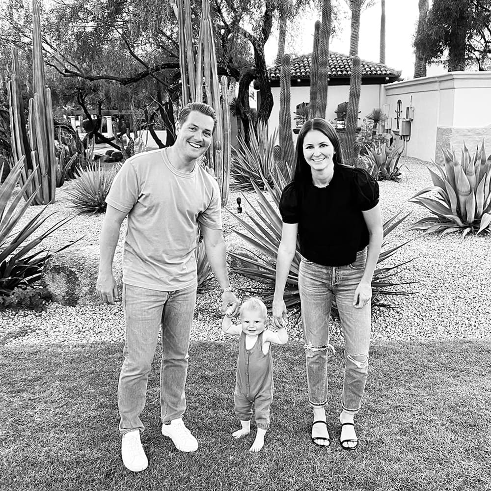 brent and jeneane hugus owners of eggersmann scottsdale with their toddler at home in scottsdale arizona
