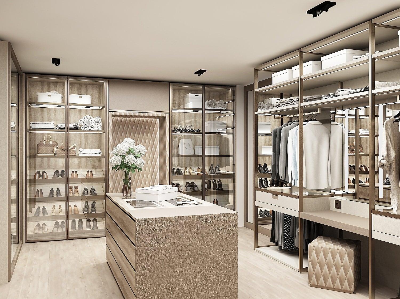 rendering of luxury walk-in schmalenbach wardrobe display under construction in the eggersmann la showroom