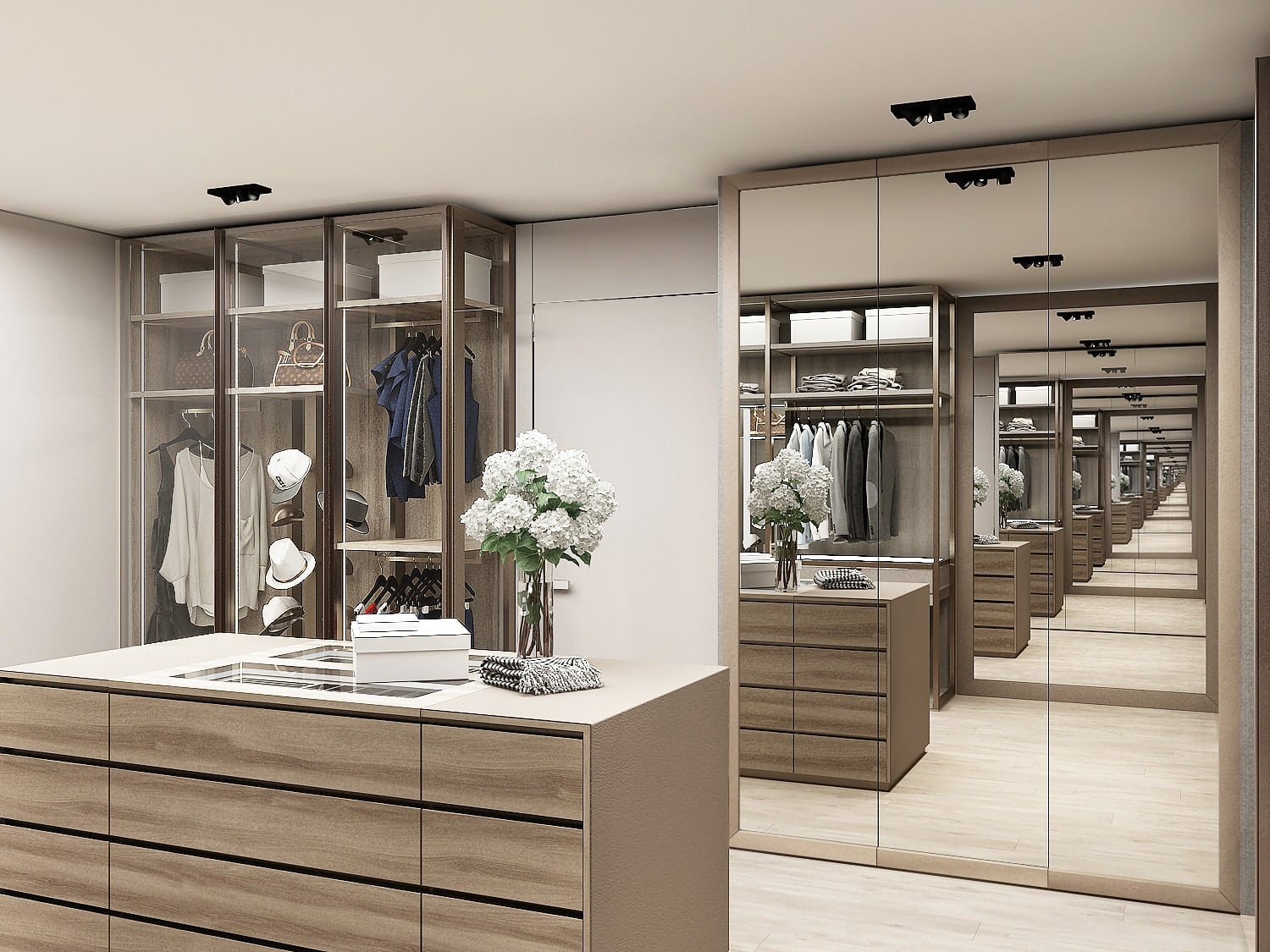 rendering of luxury walk-in schmalenbach wardrobe display under construction in the eggersmann la showroom featuring an island, closed storage with glass front doors, and open storage