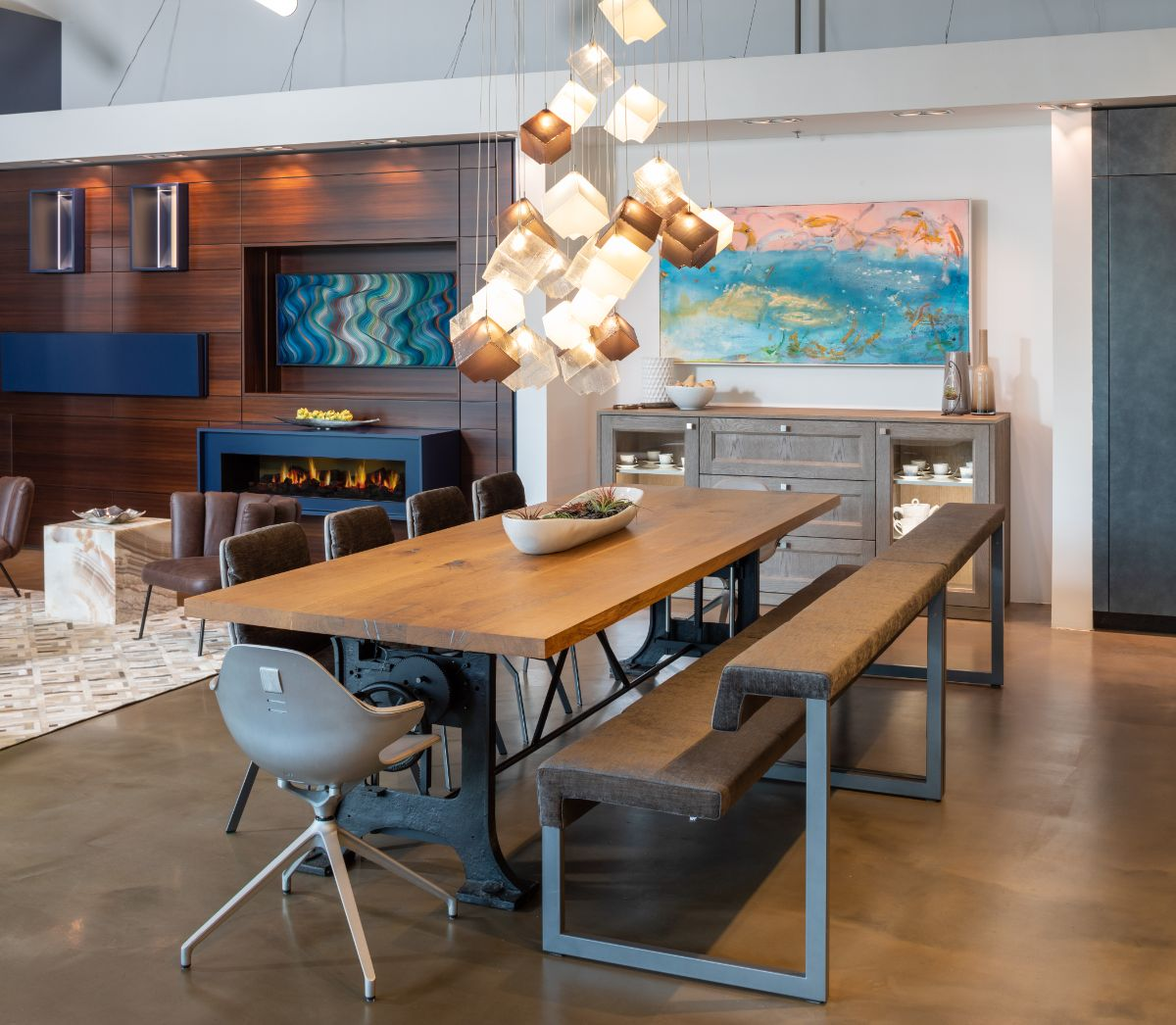 shakuff multiple cubes lighting fixture featured in the eggersmann kitchen display in the houston showroom