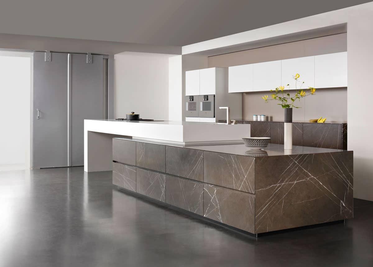 Graphite Brown leather Limestone | Vienna Pianovo Diamond white real stone kitchen
