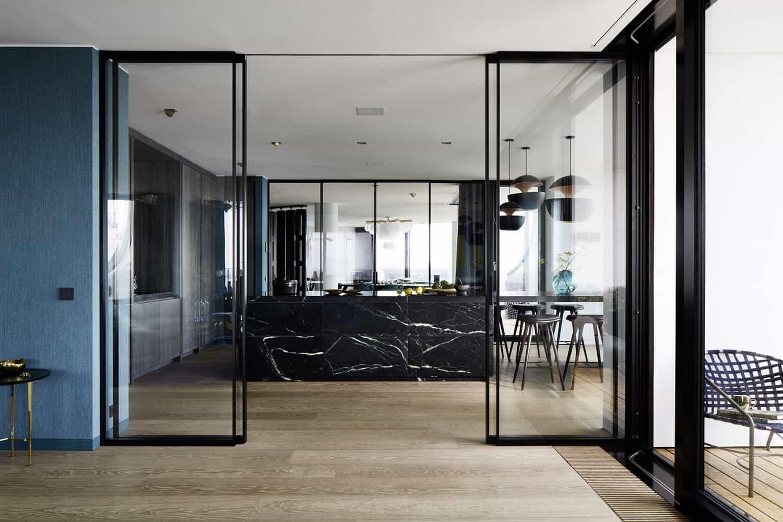 stone kitchen cabinetry from eggersmann's unique collection in Carnico Grigio Limestone leathered finish