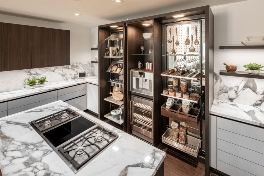 ample hidden storage in a gourmet kitchen custom designed by eggersmann