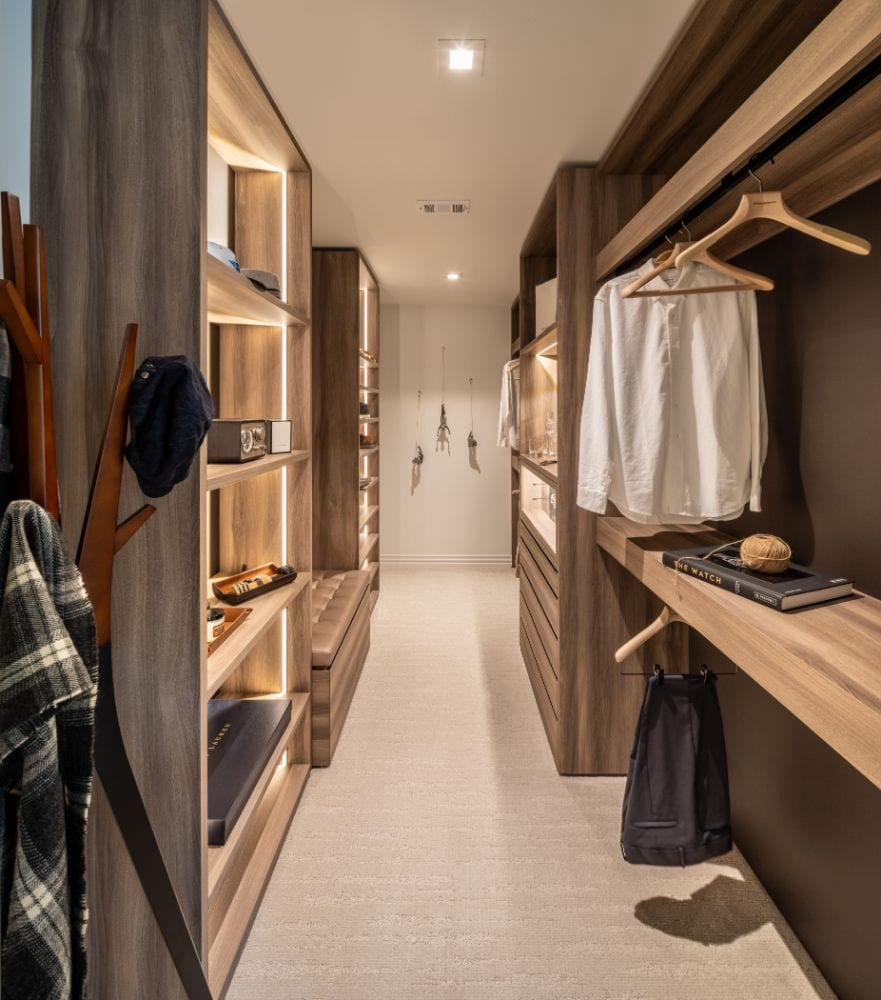 custom storage solutions in a schmalenbach manufactured wardrobe designed by eggersmann