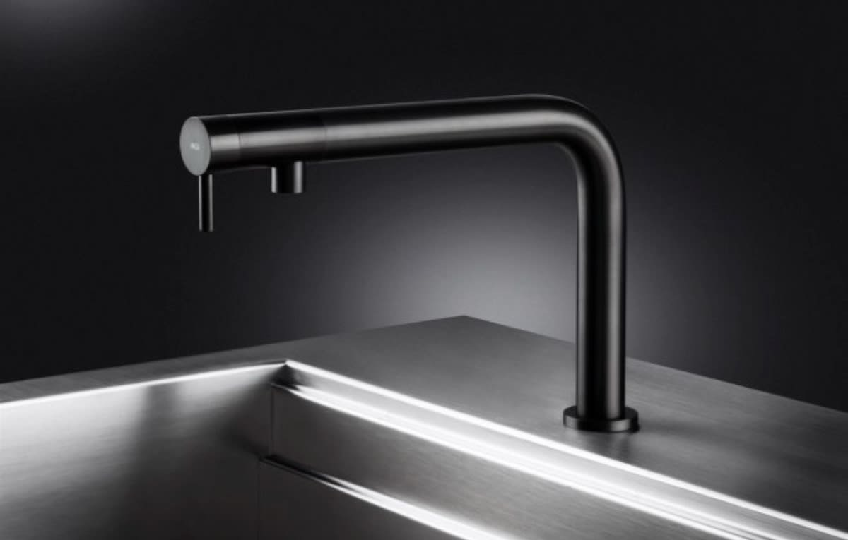 mgs stainless steel constructed faucet in polished black finish