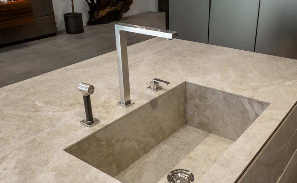 luxury kitchen faucet and sprayer with ultra-modern angular design in brushed nickel designed by dornbracht
