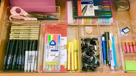 use drawer dividers to keep everything neat and in its place for finding it fast